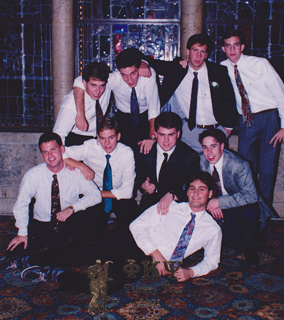 Trent at Butler with fraternity brothers.