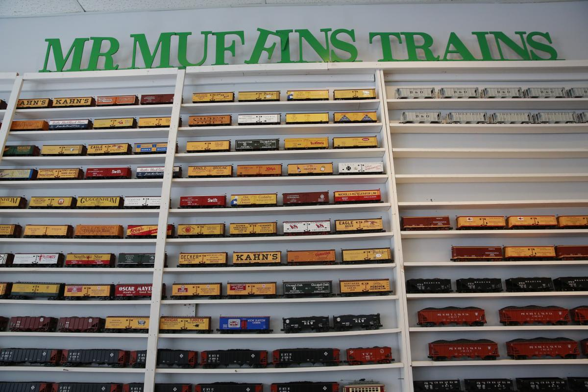 Wall of model trains